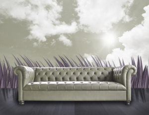 blue couch clouds b w