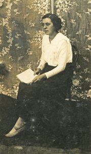 vintage woman with book